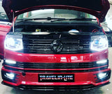 T6 DRL Headlights Black With LED 6000k Dipped & Full Beam Bulbs