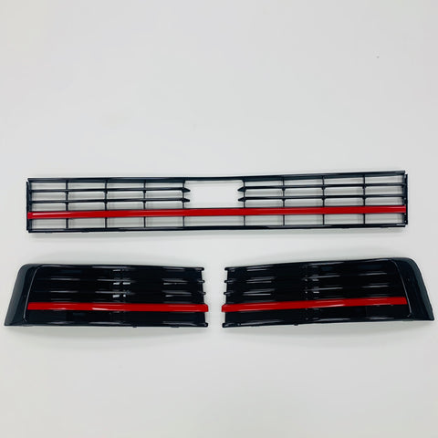 VW T6 Lower Gloss Black Griles With Red Styling Trim Transporter 15-19