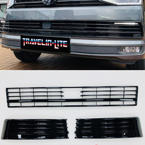 T6 Lower Gloss Black Grilles 3pcs For Vehicles With Radar Sensor 15 Onwards