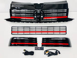 T6 Gloss Black Upper & Lower Grilles Red Trims With Light Bar DRL Kit 15 Onwards