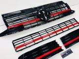 T6 Gloss Black Upper & Lower Grilles Red Styling Trim With Badge 2015 Onwards