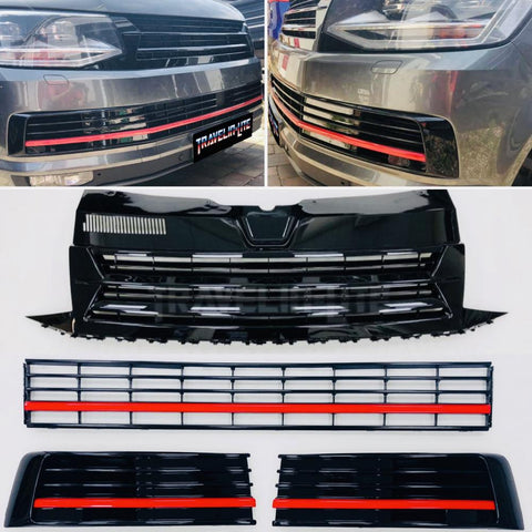 T6 Transporter Badgeless Grille & Lower Grilles Gloss Black With Red Trims