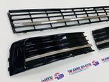 T6 Transporter Gloss Black Lower Grilles 3pcs With Chrome Trims Brand New
