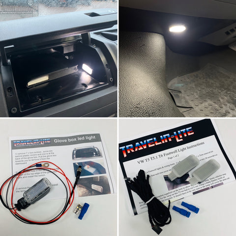 VW T5 T5.1 T6 Footwell & Glove Box LED lights