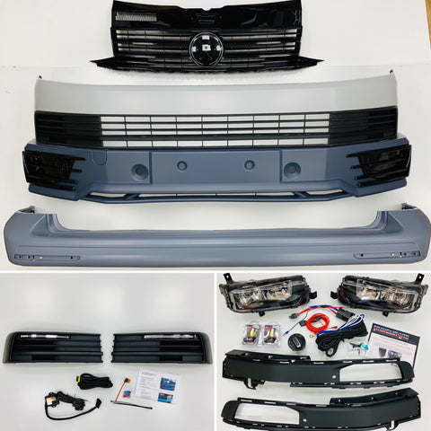 T6 Front & rear smooth primed bumpers, grille, drl kit, led fog kit