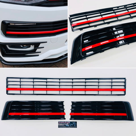 T6 Gloss Black Lower Grille With Covers & Red Styling Trims 15 Onwards NEW