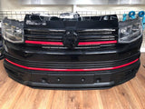T6 Front grille gloss black & badge upper and lower red trims