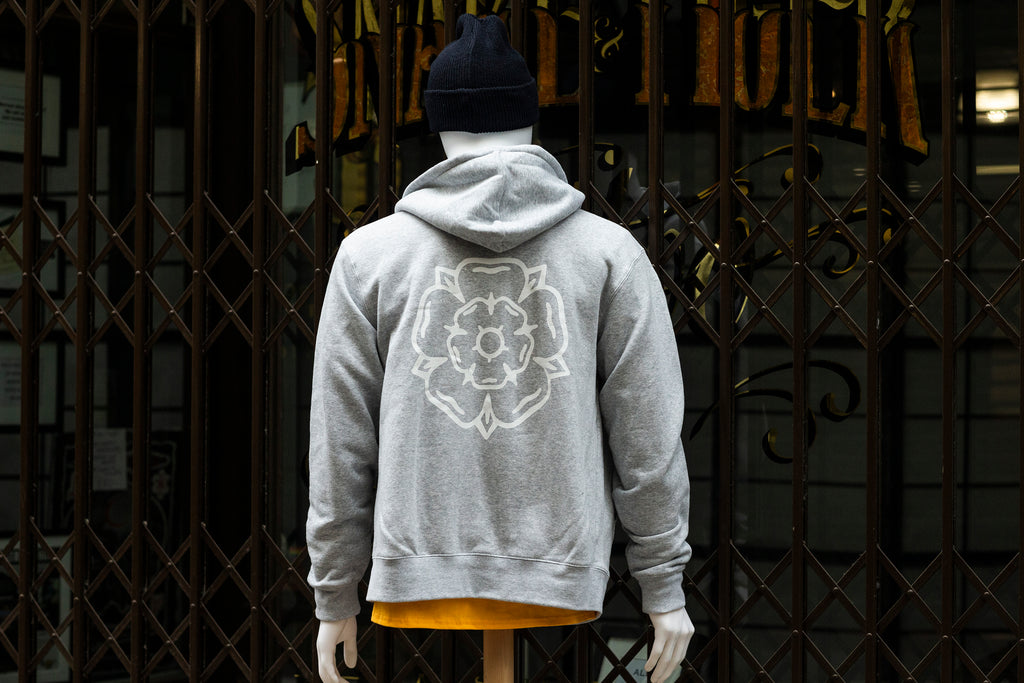 Rose Zip Hooded Sweatshirt Grey
