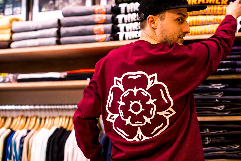 Rose L/S T-shirt Burgundy
