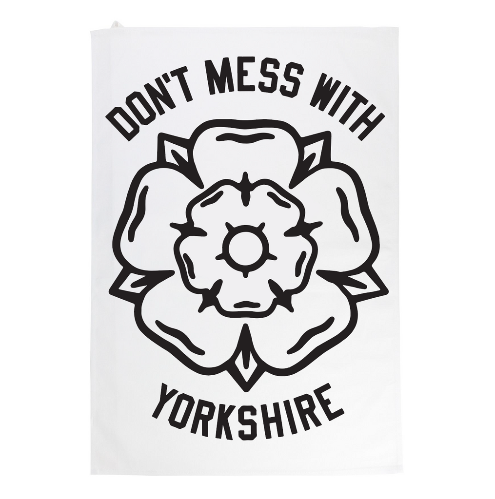 Classic Rose Tea Towel - White