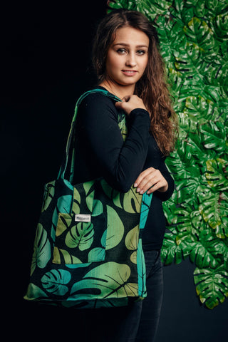Shoulder bag made of wrap fabric (100% cotton) - MONSTERA - standard size 37cm x 37cm