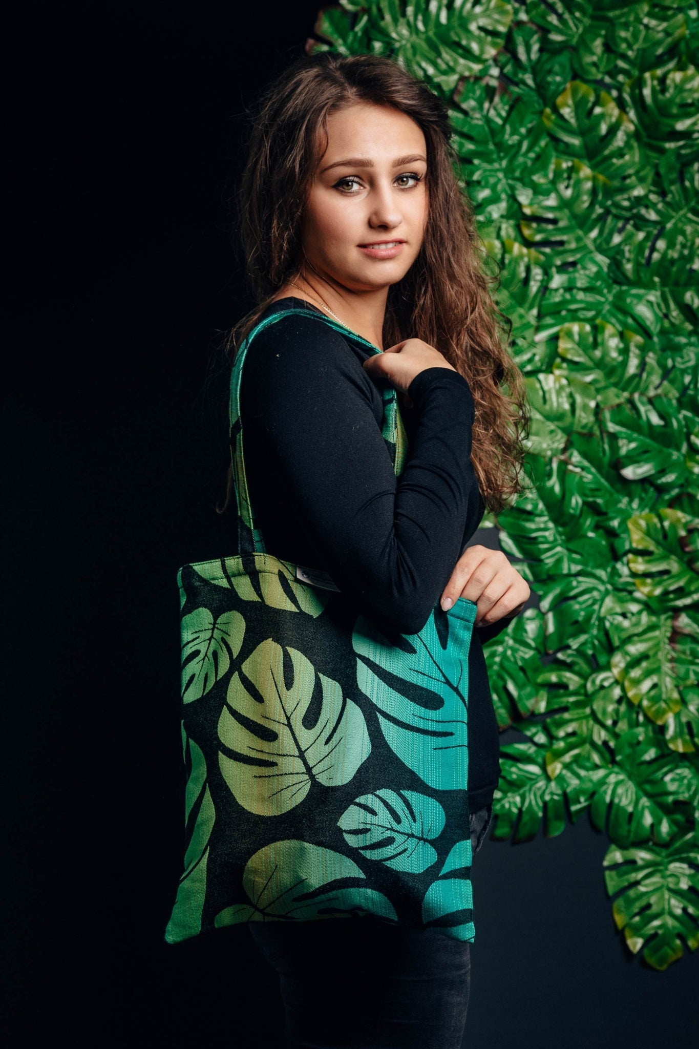 Shopping bag made of wrap fabric (100% cotton) - MONSTERA