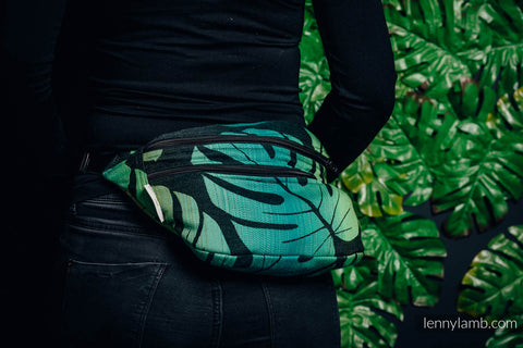 Waist Bag made of woven fabric, size large (100% cotton) - MONSTERA