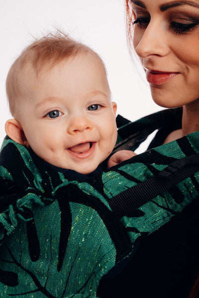 LennyGo Ergonomic Carrier, Baby Size, jacquard weave 78% cotton 22% silk - MONSTERA - URBAN JUNGLE