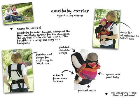 Emeibaby Hybrid Baby Carrier Full Black with Camping Hood