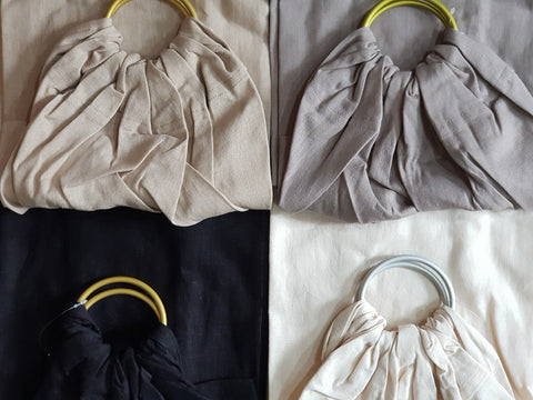 Okrosh Ring Slings (soft linen and viscose fabric)(Black, coffee, yellow)