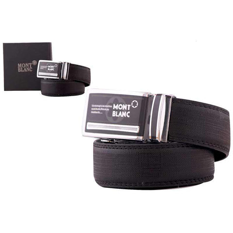 Black Formal Men's Leather Belt Auto Lock