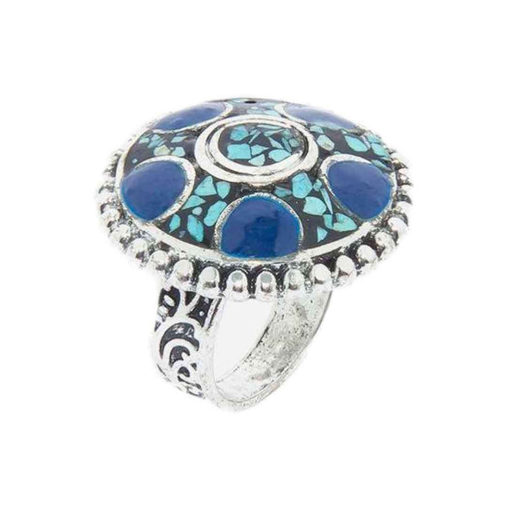 Antique & Blue Steel & Stone Ring For Women   JP 2953