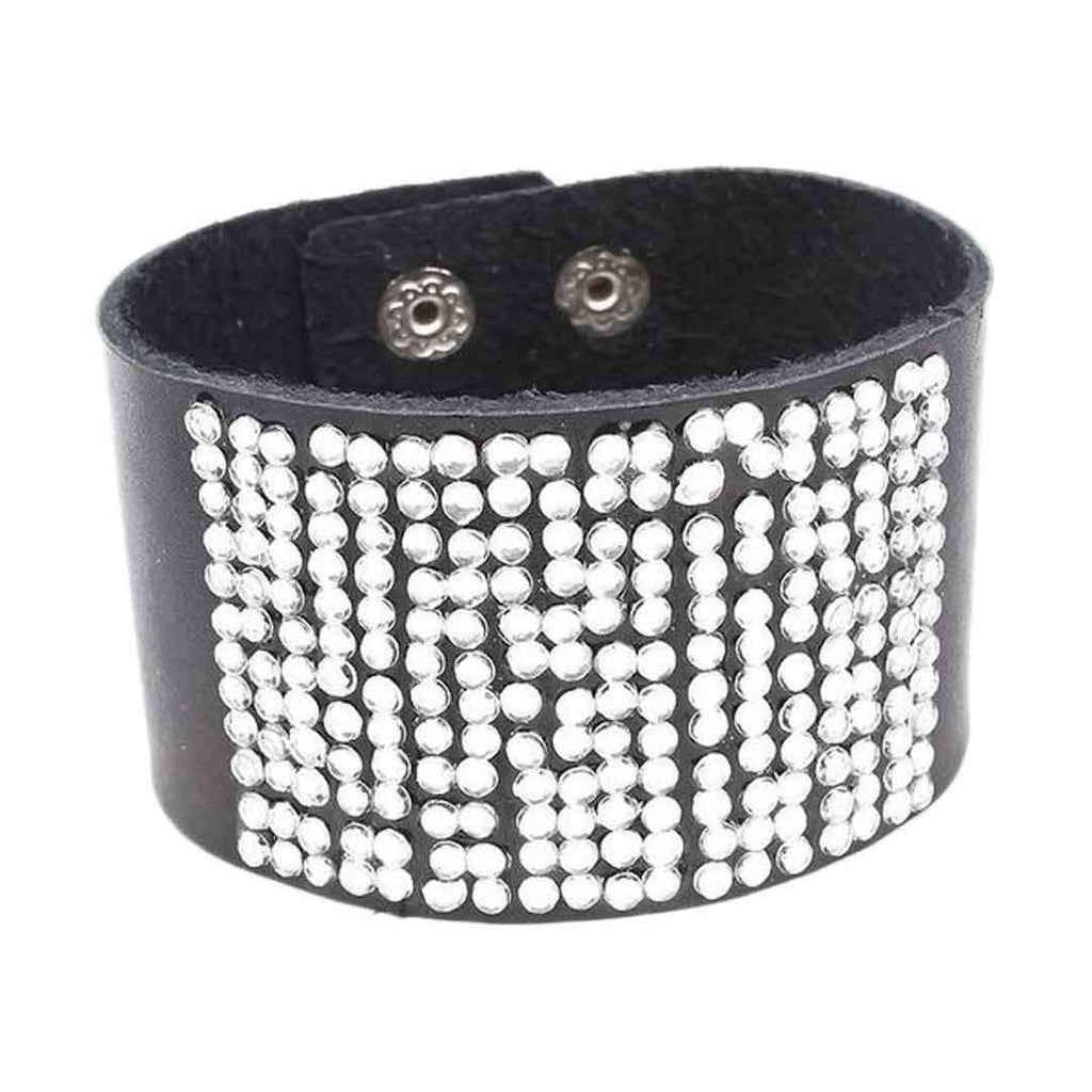 Black Leather Stylish Bracelet JP 1505