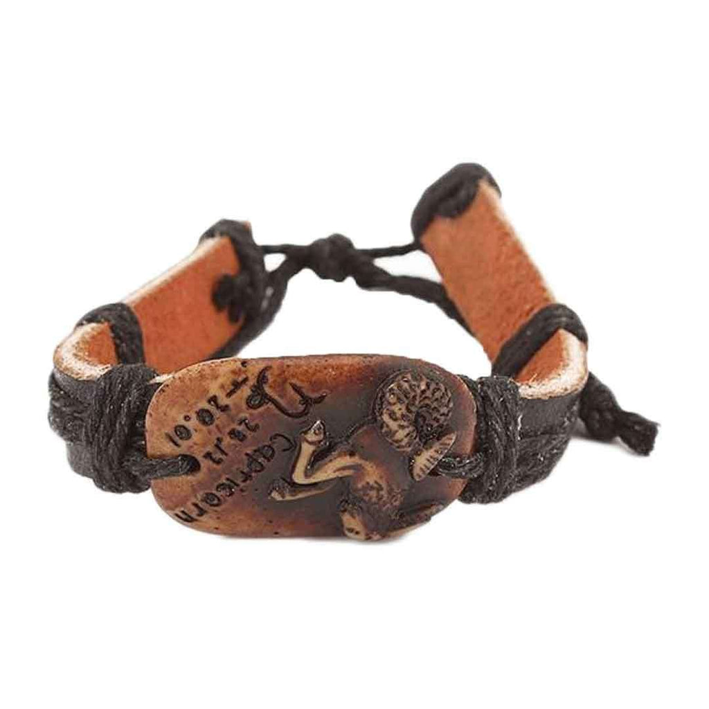 Black Unisex Leather & Camel Bone Star Sign Bracelet JP 3236