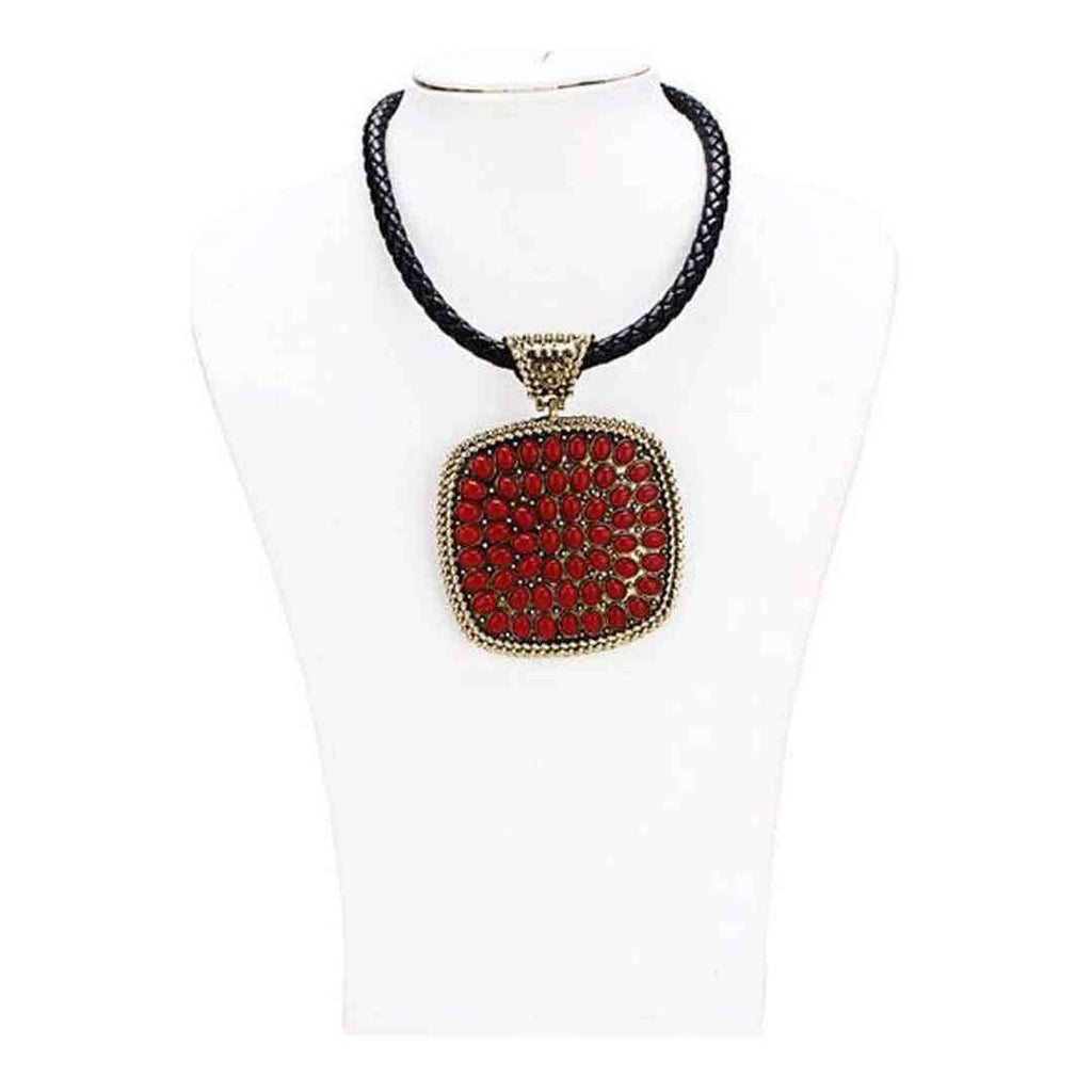 Golden Steel Necklace With Red Ruby Design