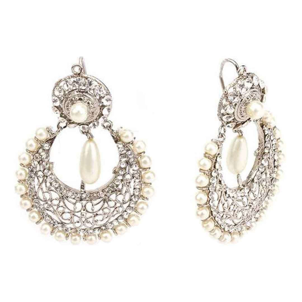 100 Degreez White Pearl Silver Earrings JP 1350