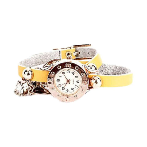 Yellow Belt Wrist Watch Detailed with Golden Studs & Chain