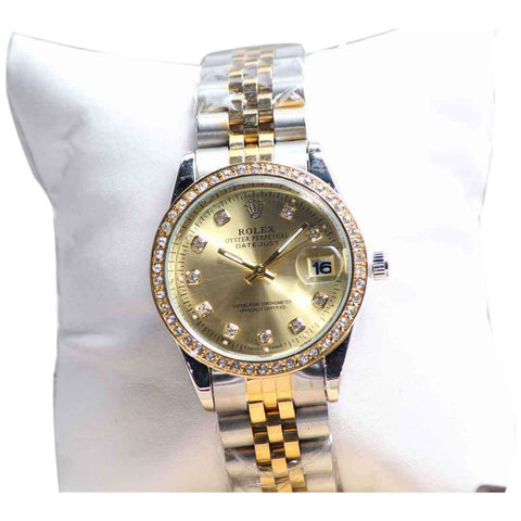 Gold And Silver Women's Wrist Watch Golden Dial