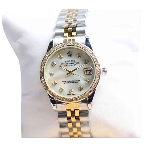 Silver And Golden Women's Wrist White Dail Watch
