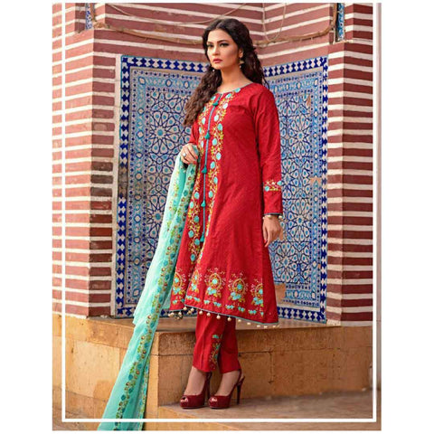 Women's Red & ferozi Mughlia Embroidery Un-Stitched Suit