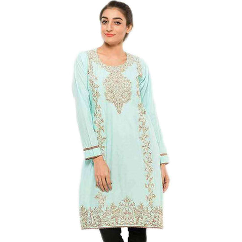 Women's Sea Green Embroidered Kurti