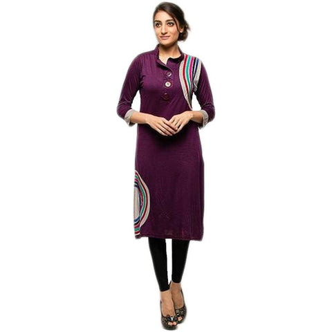 Purple Printed Botton Ladies Kurti