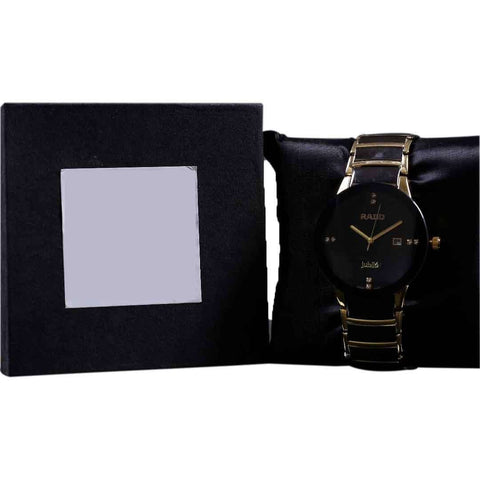 Golden And Black Round Dial Men's Watch
