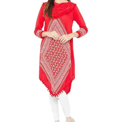 Red Viscose Printed Tunic For Women