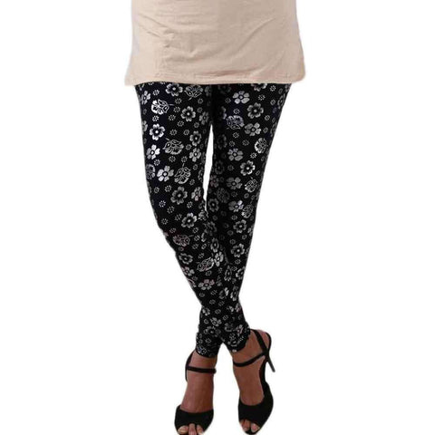 Black Flower Printed Tights For Women's
