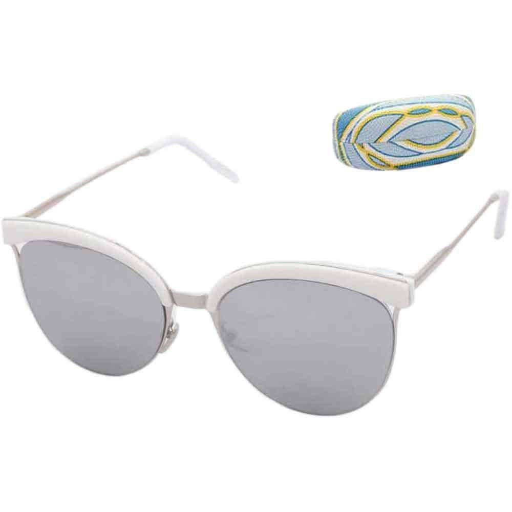 Cat Eye Silver White Sunglasses