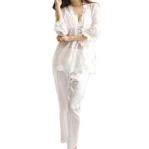 Gown Pj Set White 3 Pc Nightwear