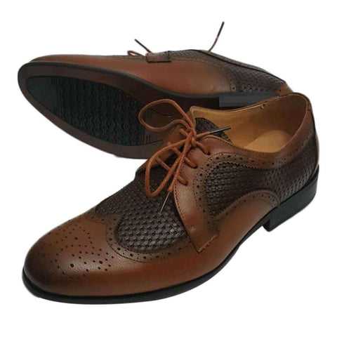 Brown Unique Style Leather Double Color Contrasted Shoes