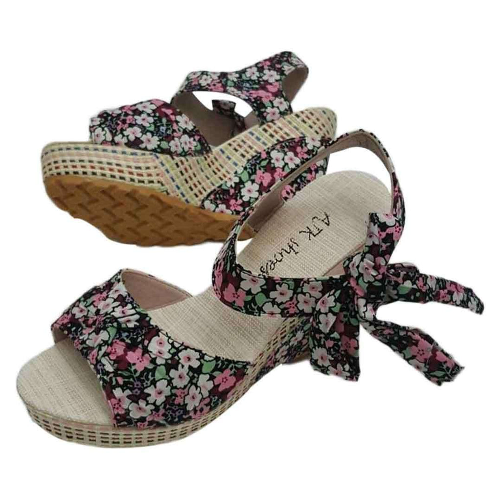 Black Flower Printed Wedges for Women