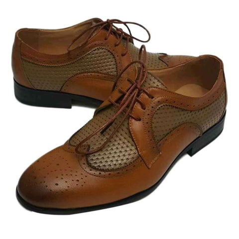 Light Brown Unique Style Leather Double Color Contrasted Shoes