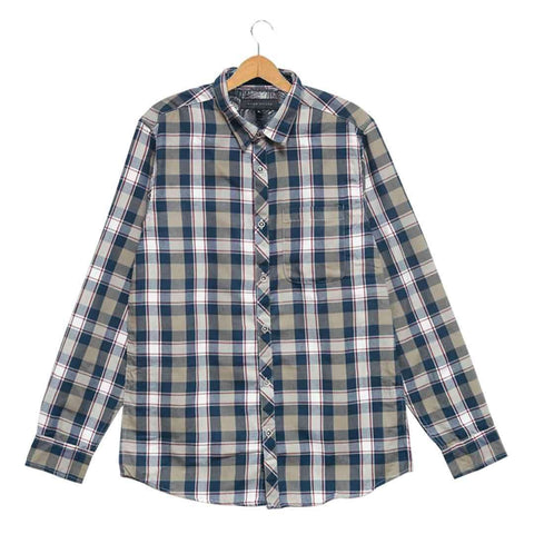 Men's Turquoise with White Checkered Cotton Shirt