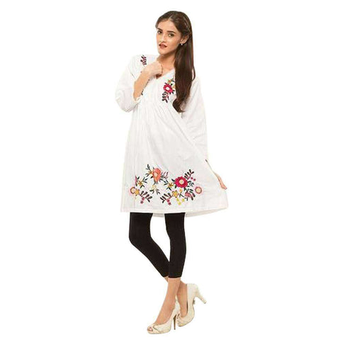 Women's Flower Embroidery Work Kurti