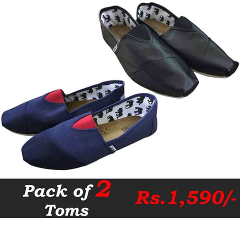 Pack of Two Toms Blue & Black