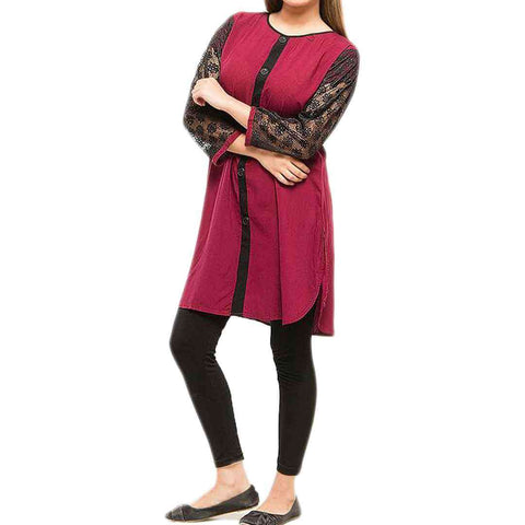 Ladies Net Sleeves Maroon & Black Kurti