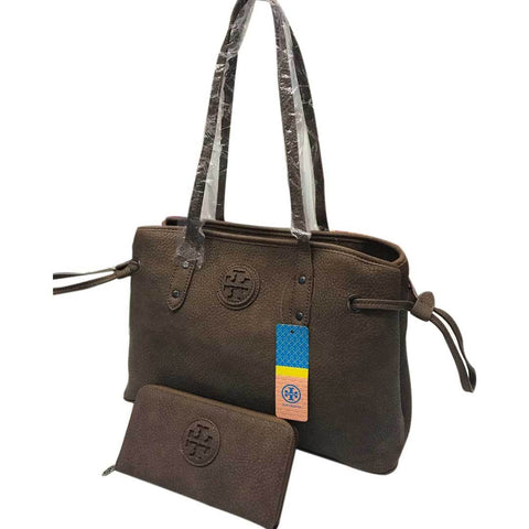 Women's Brown Leather Handbag With Pouch