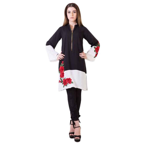 Women's Red Flower Print Embroidery Kurti