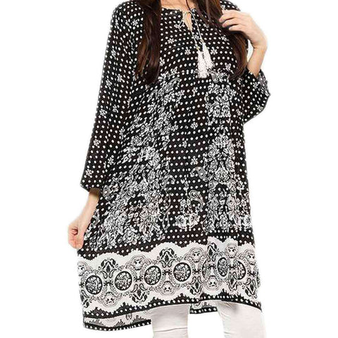 Women's Black & White Lawn Kurti