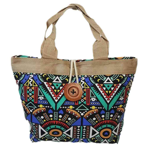Women's Print With Button Style Handbag
