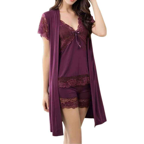Purple Cami Shorts Set With Gown