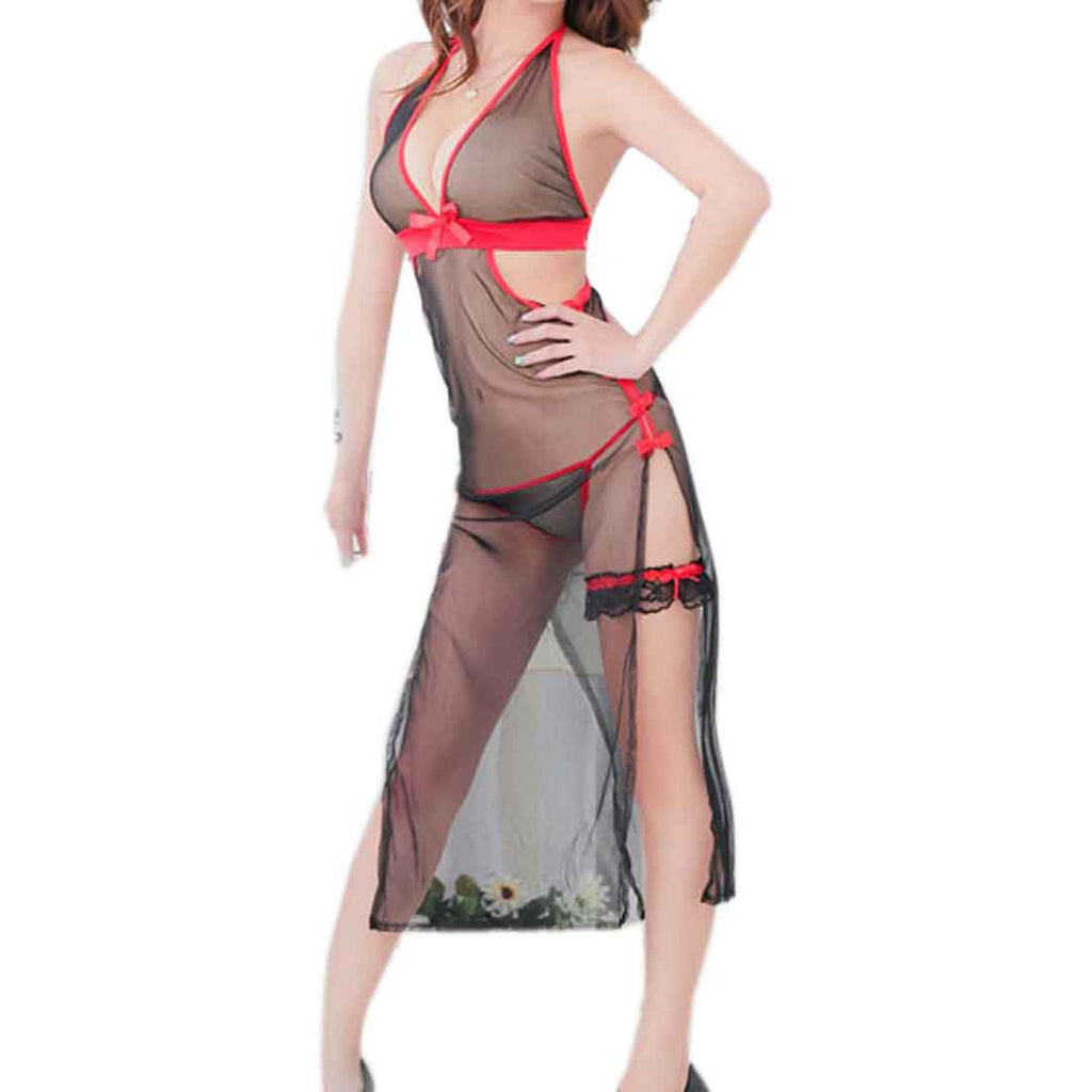 Black&red seethrough melish women nighty string set